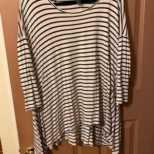 Striped shark tooth swing tunic